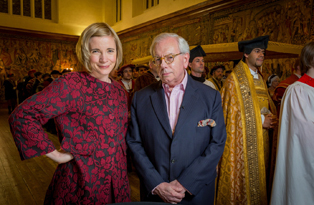 Dr Lucy Worsley and Dr David Starkey at Hampton Court Palace