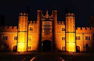 Hampton Court Palace lit up at night