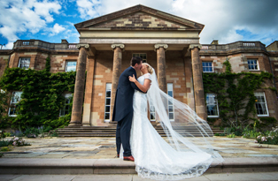 Bride and Groom outside Hillsborough Castle