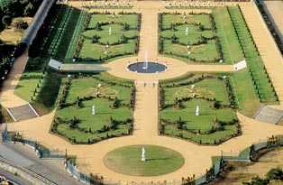 Aerial view of the formal gardens