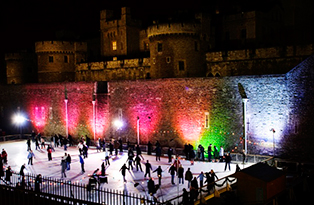 Ice skaters outside Tower of London