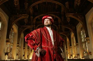 A costumed interpreter playing Henry VIII