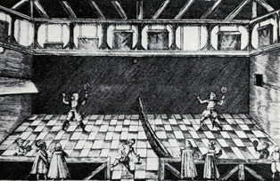 A Tom Todd illustration of the tennis courts