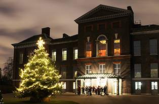 Kensington Palace Christmas tree 2012 - night shot in front of palace