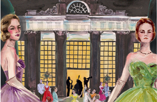 Midwinter Ball 2013 - promo image, palace in moonlight with women in ballgowns