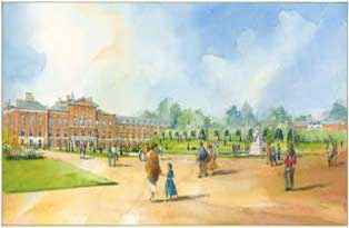 A watercolour image showing the transformation of the entrance to Kensington Palace