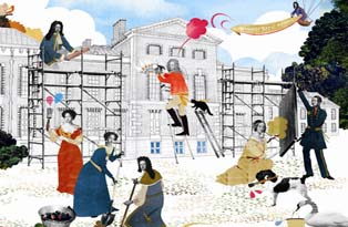 An illustration of Kensington Palace being transformed