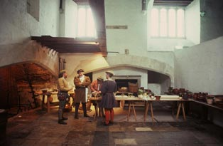 Costumed guides in the Tudor kitchen