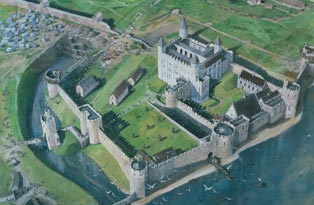 Artists impression of the Tower of London Tower c1240
