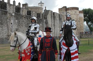 A Yeoman Warder and two Knights on horseback, at the Tower of London