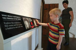 A boy looking round the exhibition