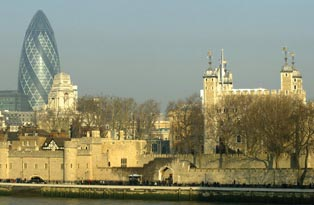 A view of the Tower of London from across the river