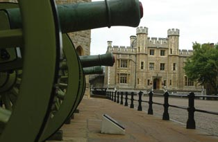 Cannons outside the Waterloo Block at the Tower of London