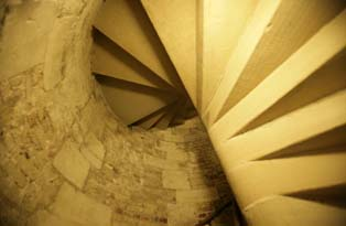 A spiral staircase at the Tower of London