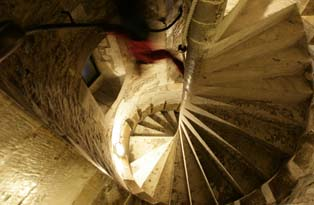 A spiral staircase in the Salt Tower