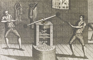 Screw press. Image: The Royal Mint Museum