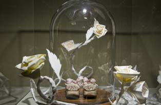 Cinderella's slippers enclosed in a glass case