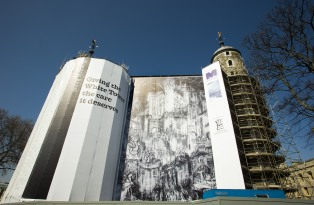 A hoarding on the White Tower