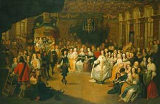 A painting of Charles II dancing at a ball (c The Royal Collection)