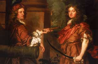 A portrait of Frescheville Holles and Robert Holmes (c The National Maritime Museum)