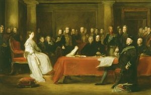 A portrait of Queen Victoria at her first Privy Council (c The Royal Collection)