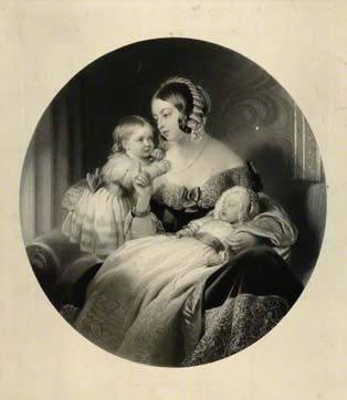 An engraving of Queen Victoria with her 2 eldest children, Victoria and Albert Edward (c The National Portrait Gallery)
